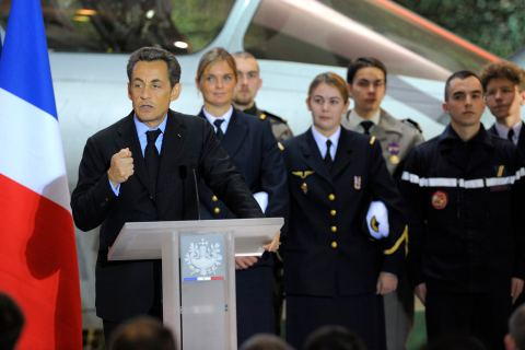 France's President Nicolas Sarkozy delivers a speech