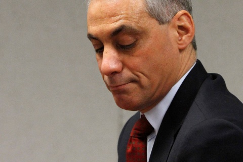 Former White House Chief of Staff Emanuel pauses while testifying in front of the Chicago Board of Elections Commissioners in Chicago
