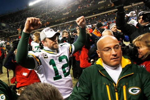 Green Bay Packers quarterback Aaron Rodgers celebrates their win over the Chicago Bears in the NFL NFC Championship football game in Chicago