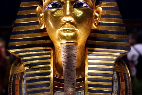 The gold mask of ancient pharaoh king Tutankhamen seen at the Egyptian museum November 18, 2004. Egy..