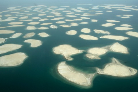 Aerial view of The World Island in Dubai