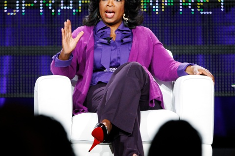 Winfrey answers a question at a panel during the Oprah Winfrey Network Television Critics Association winter press tour in Pasadena