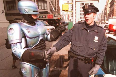 New York City Police Officer Paul Dean gets a hand