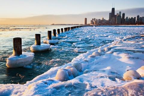 Winter view of Chicago skyline, Chicago, IL