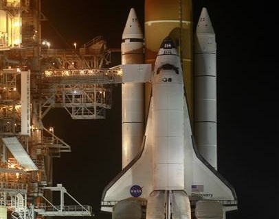 The space shuttle Discovery is prepared for launch at launch pad 39A, at the Kennedy Space Center in Cape Canaveral