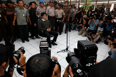 "IIndonesian pop singer Nazril ""Ariel"" Irham sits in a courtroom in West Java, Indonesia, for his final trial over two controversial sex tapes"