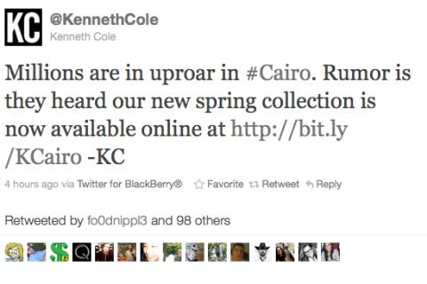Kenneth Cole, Cairo Tweet