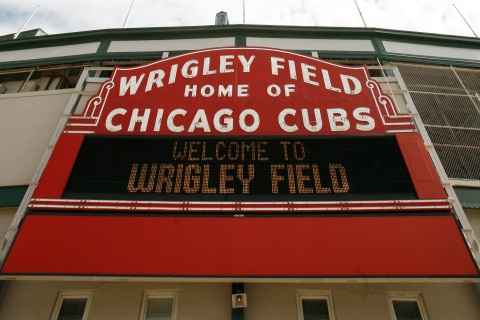 A view of Wrigley Field in Chicago