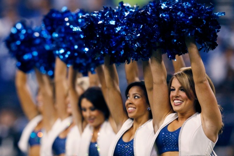 Indianapolis Colts cheerleaders perform before the start of the AFC Wild Card NFL playoff football game against the New York Jets in Indianapolis