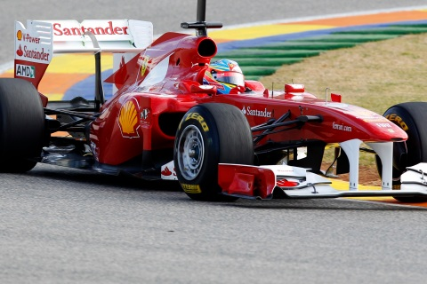 Ferrari Formula One driver Alonso of Spain drives his new F150 car during the first test session of the year in Valencia