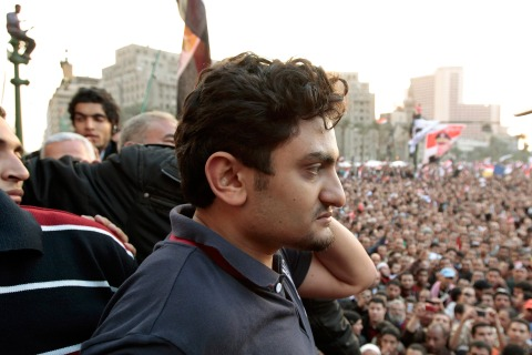 Google Inc executive Wael Ghonim addresses a mass crowd  inside Tahrir Square in Cairo