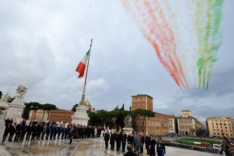 The Italian Air Force aerobatic unit Fre