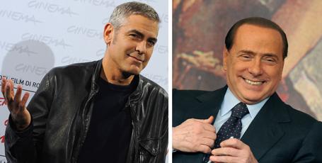 Actor George Clooney and Italian Prime Minister Silvio Berlusconi
