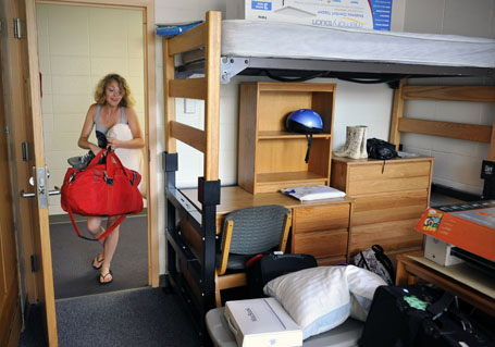 Sisters Meghan and Moira Esson move in to their dorm rooms at American University, in Washington, DC,  with help from their family.
