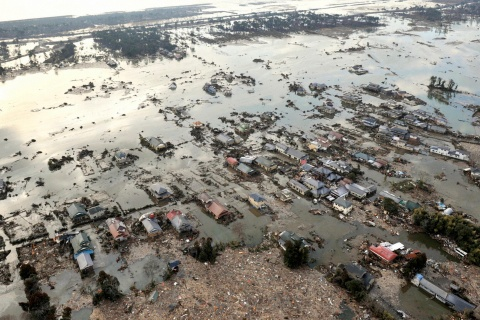 Flooding following an earthquake and tsunami is seen in Sendai, northeastern Japan