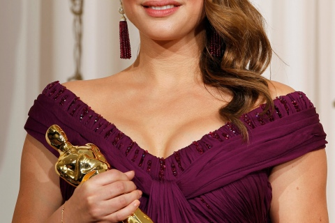 Natalie Portman, best actress winner for her role in Black Swan, poses backstage at the 83rd Academy Awards in Hollywood