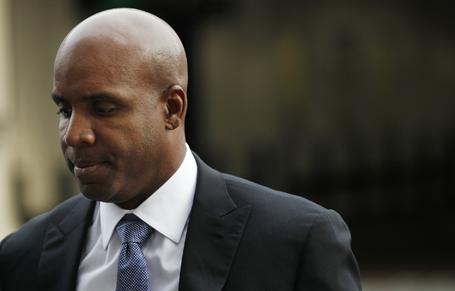 Former San Francisco Giants baseball player Barry Bonds arrives at the Phillip Burton Federal Building for his perjury trial as jurors resume deliberation in San Francisco