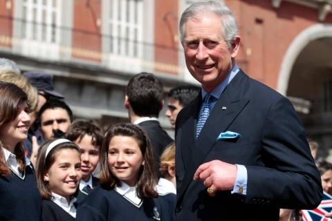 Britain's Prince Charles looks on after talking to students of a Madrid British school at Plaza Mayor in central Madrid