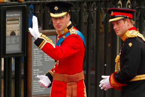 Britain's Prince William and his brother and best man Prince Harry, arrive to Westminster Abbey for Prince William?s marriage to Kate Middleton, in central London