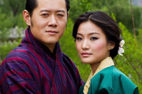 Handout of Bhutan's King Wangchuck and his fiancee Pema posing in Bhutan