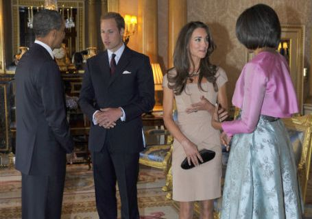 Barack Obama and Michele Obama meet the Duke and Duchess of Cambridge