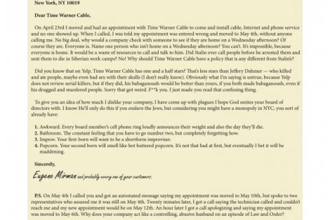 Eugene Mirman Letter