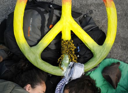 Protesters rest in their sleeping bags at the Puerta del Sol square in Madrid on May 22, 2011 during a protest against Spain's economic crisis and its sky-high jobless rate.