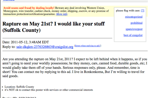 Picture 2 craigslist apocalypse end of the world