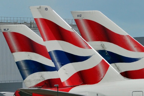British Airways logos are seen on tailfins at  Heathrow Airport in west London