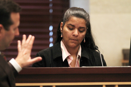 Krystal Holloway, also known as River Cruz, testifies during the Casey Anthony trial at the Orange County Courthouse in Orlando, Florida. (Red Huber/Orlando Sentinel/MCT via Getty Images)