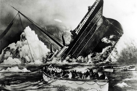 Volume 2, Page 69, Picture 7. Illustration, showing the sinking of the Titanic.