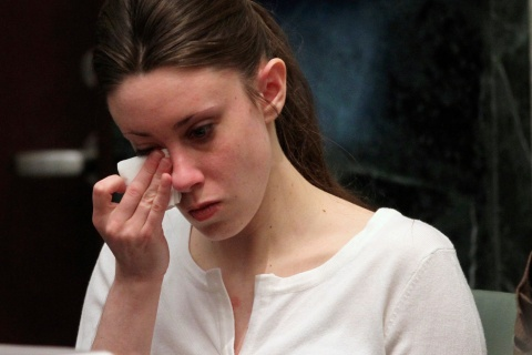 Anthony cries during her murder trial at the Orange County Courthouse in Orlando