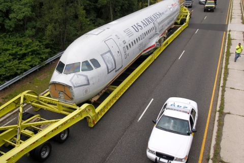 "U.S. Airways flight 1549 also known as the ""Miracle on the Hudson"" navigates an exit ramp near Burlington"