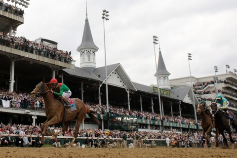 Animal Kingdom with jockey John Velazquez in the irons wins the Kentucky Derby at Churchill Downs in Louisville