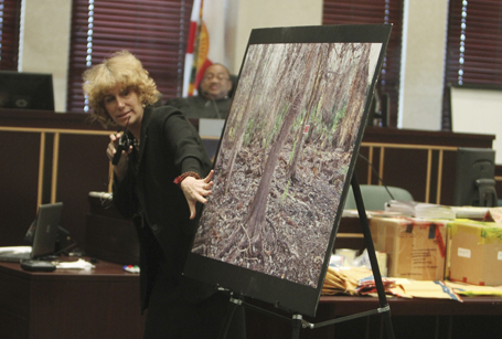 Defense attorney Dorothy Clay Sims displays a crime scene photo during the Casey Anthony trial (REUTERS/Red Huber/Pool)