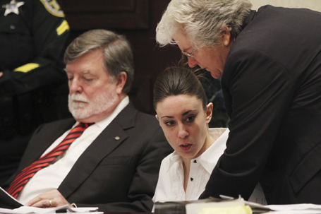 Casey Anthony waits in court with her attorneys before the start of her murder trial at the Orange County Courthouse in Orlando