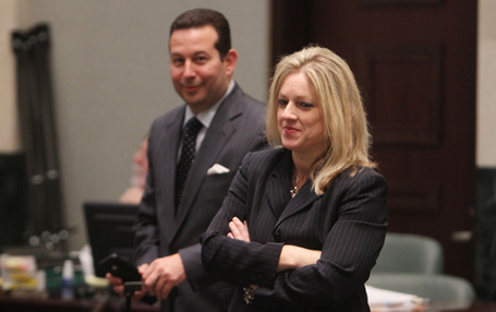 Assistant state attorney Linda Drane Burdick, right, and defense attorney Jose Baez before the start of court in the trial of Casey Anthony at the Orange County Courthouse in Orlando, Florida, Friday, July 1, 2011. (Red Huber/Orlando Sentinel/MCT)