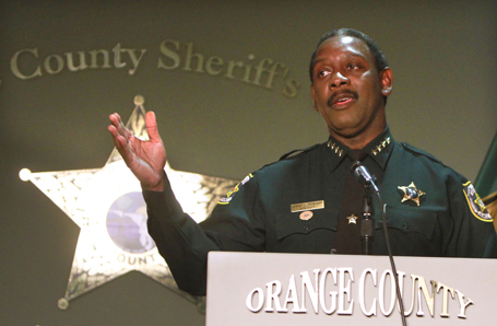 Orange County Sheriff Jerry Demings addresses the media during a press conference about the Casey Anthony trial in Orlando, Florida, Tuesday, July 12, 2011. (Joe Burbank/Orlando Sentinel/MCT)
