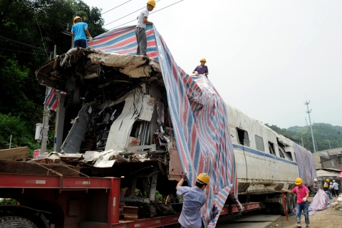 A damaged carriage involved in a fatal h