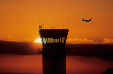 Air Traffic Control Tower in Sunset