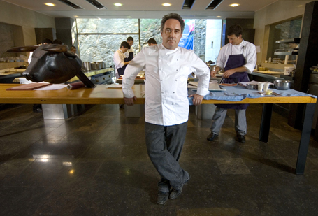 Chef Ferran Adria poses in the kitchen of ''El Bulli'' resta
