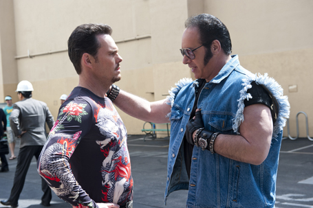 Johnny Drama (Kevin Dillion), and Andrew Dice Clay talk about their new show on Episode 2 of Entourage's last season (Photo Courtesy HBO).