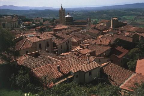 High angle view of houses in a town, Maremma, Massa Marittima, Tuscany, Italy