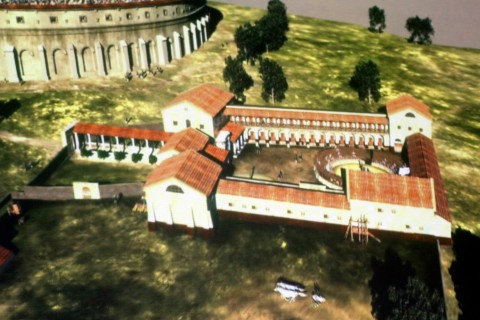 A virtual recreation of an underground Roman gladiator school discovered in Austria.