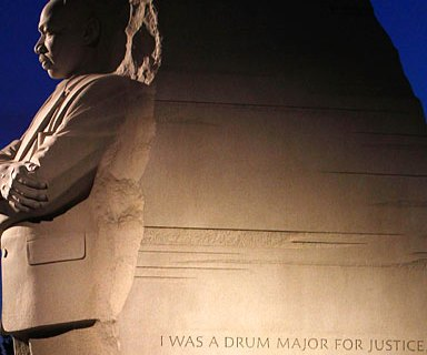 An inscription is carved on the side of the Martin Luther King, Jr. Memorial in Washington.