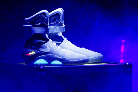 """The 2011 NIKE MAG shoe, based on the original NIKE MAG worn in 2015 by the """"Back to the Future"""" character Marty McFly, played by Michael J. Fox, is unveiled at The Montalban Theatre in Hollywood, Californi"""