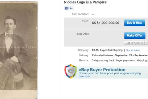Nicolas Cage, Vampire, eBay