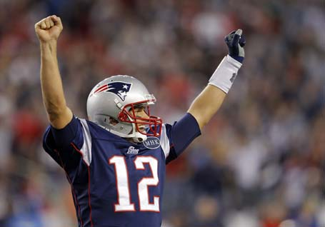 New England Patriots quarterback Tom Brady reacts after the Patriots scored a touchdown against the San Diego Chargers in the fourth quarter of their NFL football game in Foxborough