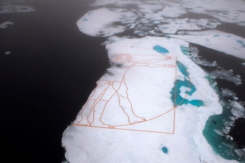 "An aerial view shows Leonardo da Vinci's ""The Vitruvian Man"" recreated by artist John Quigley on the Arctic sea ice"