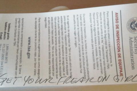 TSA inspection note